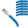 Laguiole Berlingot pastry forks Azur, set of 6 in box, acrylic handles, color: Azur, Dimensions: l 17. 5 cm l 17.5 cm