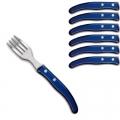 Laguiole Berlingot pastry forks Bleu, set of 6 in box, acrylic handles, color: Bleu, Dimensions: l 17. 5 cm l 17.5 cm