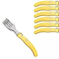Laguiole Berlingot pastry forks Jaune, set of 6 in box, acrylic handles, color: Jaune, Dimensions: l 17. 5 cm l 17.5 cm