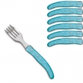 Laguiole Berlingot pastry forks Turqoise, set of 6 in box, acrylic handles, color: Turqoise, Dimensions: l 17. 5 cm l 17.5 cm