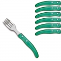 Laguiole Berlingot pastry forks Vert, set of 6 in box, acrylic handles, color: Vert, Dimensions: l 17. 5 cm l 17.5 cm