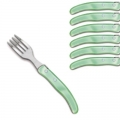 Laguiole Berlingot pastry forks Vert pâle, set of 6 in box, acrylic handles, color: Vert pâle, Dimensions: l 17. 5 cm l 17.5 cm