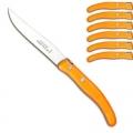 Ensemble de couteaux à steak/de table Berlingot Laguiole en coffret, orange, lot de 6, manche en acrylique, dimensions: L 23 cm