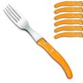 Ensemble de fourchettes de table Berlingot Laguiole en coffret, orange, lot de 6, manche en acrylique, dimensions: L 23 cm