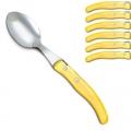 Laguiole Berlingot table spoons Jaune, set of 6 in box, acrylic handles, color: Jaune, Dimensions: l 23 cm