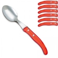 Laguiole Berlingot table spoons Rouge, set of 6 in box, acrylic handles, color: Rouge, Dimensions: l 23 cm