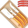 Laguiole Berlingot cheese knives, set of 3 in box, color: Rouge, Dimensions: l 29 cm