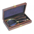 Magnifying Glass, in rosewood box, shiny polished brass, rosewood, magnification x3, Dimensions: l 18 x Ø 8 cm