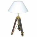 Tripod Lamp with chintz shade, crème white, shiny brass, mahogany coloured, h 94, 55 x Ø 35 cm