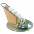 Wax Ball Candle Holder, Top Loader, for 7 wax balls, stainless steel, beech wood, Dimensions: l 23 x h 10 x Ø 16 cm