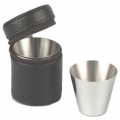Drinking Cups, 0.7oz., set of four, satined stainless steel, in black leather case with zipper, Dimensions: h 5 x Ø 4, 3 cm