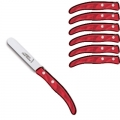 Laguiole Berlingot dessert Knives Bordeaux, set of 6 in box, acrylic handles, color: Bordeaux, Dimensions: l 18 cm