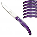 Laguiole Berlingot steak knives Violet, set of 6 in box, acrylic handles, color: Violet, Dimensions: l 23 cm