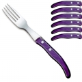 Laguiole Berlingot table forks Violet, set of 6 in box, acrylic handles, color: Violet, Dimensions: l 23 cm