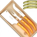 Laguiole Berlingot cheese knives, set of 3 in box, color: Olive, Dimensions: l 29 cm