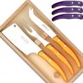 Ensemble à fromage Berlingot Laguiole en coffret, violet, manche en acrylique, dimensions: L 21 cm