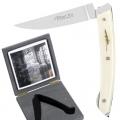 Exklusives Thiers Taschenmesser in Geschenkbox, mit Arretiermechanik und einlaminierten echten Malerfedern, Maße: Heft L 13,5 cm, Klinge 10 cm