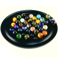 Solitaire Game, with 38 balls, from venetian glass, Ø 25 mm, antique design, solid wooden tray, Dimensions: h 3 x Ø 30 cm