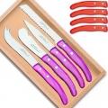 Laguiole Berlingot Frühstücks Set in Box, Farbe: Rouge, Brot-/Brötchenmesser, Käsemesser, Obstmesser, Buttermesser