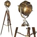 Stativ Stehlampe Suchscheinwerfer, Bronze, poliert/Alu/Glas, Rosenholzstativ, Maße: H 180 x Ø 65 cm