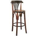 Barstool Grand Hotel with back rest, honey, solid wood, h 73/101 x Ø 37 cm