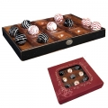 Tic-Tac-Toe Game, with 10 balls, from Venetian glass, Ø 30 mm, solid wooden tray, l 33 x w 22 x h 3.5 cm