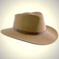 Fedora felt hat, Khaki, Size M, 57/58 cm, cowhide band outside/cotton band inside, waterproof, crushable, dimensionally stable