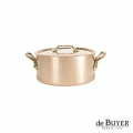 de Buyer, Pot Cocotte with handles and lid, 90% copper, 10% stainless steel, solid brass handles, Ø 10 x h 5.5 cm, 0.5 l