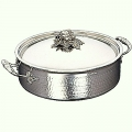 Ruffoni Opus Prima Induction Stock Pot w. lid, low, stainl. steel, hammered and pol., lid knob tomato/pepper/peas, Ø 30 x h 9.5 cm