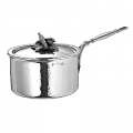 Ruffoni Opus Prima Induction Casserole w. lid, stainl. steel, hammered and pol., lid knob carrot/pepper, Ø 16 x h 8 cm