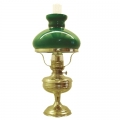 Oil Lamp classical, brass, green glass shade and clear glass cylinder, h 49 x Ø 13/22 cm