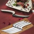 Déglon MEETING, 4er Steakmesser-Set m.Eiche-Block, Edelstahl, satiniert, L 12 cm
