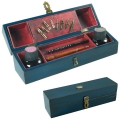 Calligraphy Box with Feather Emblem, navy blue, bronzed brass fittings and hinges, l 29.5  x d 7.5  x  h 8 cm