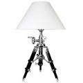 Eichholtz Stativ Tischlampe, Chintz-Schirm, Weiß, Aluminium poliert/Holz Schwarz, Maße: H 57-72 x Ø Fuß 40, Ø Schirm 50cm