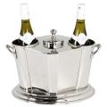 Eichholtz Weinkühler mit zentralem Eisfach, für 2 Flaschen, glänzend vernickelt, H 29 x B 39 x T 19 cm