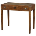 Eichholtz Desk Military, oak/brass antique, leather top, 3 drawers, h 78 x w 90 x d 48 cm
