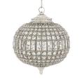 Eichholtz Design-Hängeleuchter, oval, klein, glänzend vernickelt/Glas, H 45 x Ø 38 cm