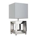 Eichholtz Design-Stehlampe Kubus, vernickelt/Chintz Schirm Grau H 30 x B 30 x T 30 cm, H 65 x B 26 x T 26 cm