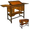Architekten-Schreibtisch hoch, Antikdesign, Edelholz, Braun, Messingbeschläge, Arbeitsfläche u. Seiten hochstellbar, 3 Schubfächer, B 110 x T 55 x H 100 cm