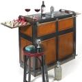Casablanca-Bar mit verdeckten Rollen, Antikdesign, Schwarz, Glas Top, 2 ausziehbare Spielbretter, Messingbeschläge, H 110,5 x B 104 x T 52 cm