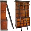 Cambridge Bücherregal mit Leiter, Antikdesign, Bicolor Schwarz/Honig, 3 Böden, 6 Schubfächer, 2 ausziehbare Platten, Bronzebeschläge, H 205,5 x B 122,5 x T 54 cm