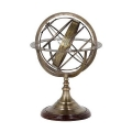 Eichholtz Armillary Sphere, bronze stand and spherical rings, walnut base, h 29 x  Ø 16 cm