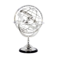 Eichholtz Armillary Sphere, shiny nickeled stand and spherical rings, ebony base, h 52 x  Ø 32 cm