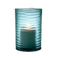 Eichholtz Design-Windlight Hurricane Ocean S, glass, blue with irregular concave cut, h 26 x Ø 16 cm