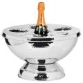 Edzard Champagnerkühler/Weinkühler Rockford mit Abdeckung, Edelstahl poliert und gehämmert, H 24 x Ø 39 cm