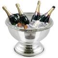 Edzard Champagnerkühler/Weinkühler Schale Somerset mit Einsatz, glänzend QualiPlated® versilbert, H 22 x Ø 40 cm