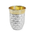 Edzard Drinking Cup Heart, solid silver, gold plated inside, shiny polished, h 9 x Ø 4.5 cm