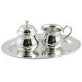 Edzard Milk-, Sugar-Set Lomita 3 parts, shiny QualiPlated® with silver, capacity 2 x 0.15 l, Tray l 24 x w 14 cm