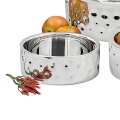 Edzard Bowl La Paz, polished and hammered stainless steel, double walled, h 11 x Ø 23 cm