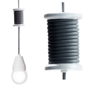 Design Hanging Lamp/Ceiling Lamp Spool, white with black cable, l 260 cm, inclusive bulb E 27/23 W